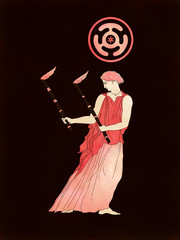 Goddess Hecate With Torches and Her Moon Wheel Symbol, based on ancient greek pottery and ceramics red-figure drawings