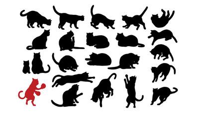 猫シルエット [Cats silhouette]