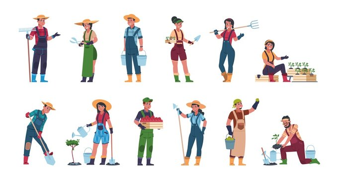 Agricultural workers. Cartoon farmers and harvesting characters, hand drawn rural people with farming equipment. Vector illustrations eco concept harvesting with gardening fruits and worker person