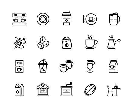 Coffee line icons. Beans take out cups and mugs coffee shop, coffee maker machine and roasting grains. Vector linear illustrations outline latte cappuccino espresso illustrative symbols set