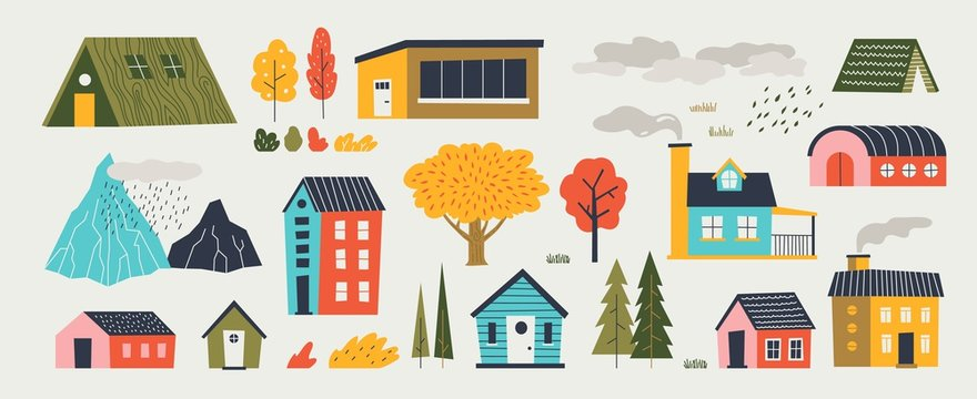 Cute houses. Trendy rural hand drawn landscape with buildings trees mountains and clouds. Vector paper cut flat design countryside with isolated elements architecture and nature icons
