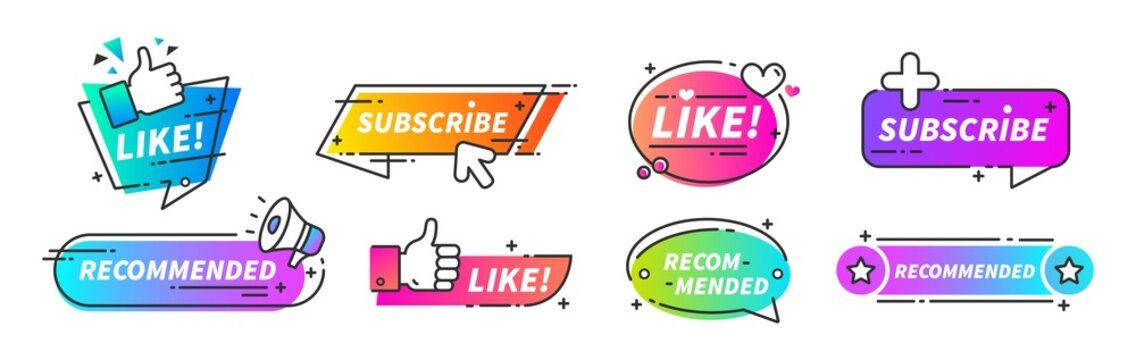 Recommend banner. Thumb up tags with with like and subscribe buttons for video channels or podcast. Vector trusted seller blog buttons set like symbol seller quality