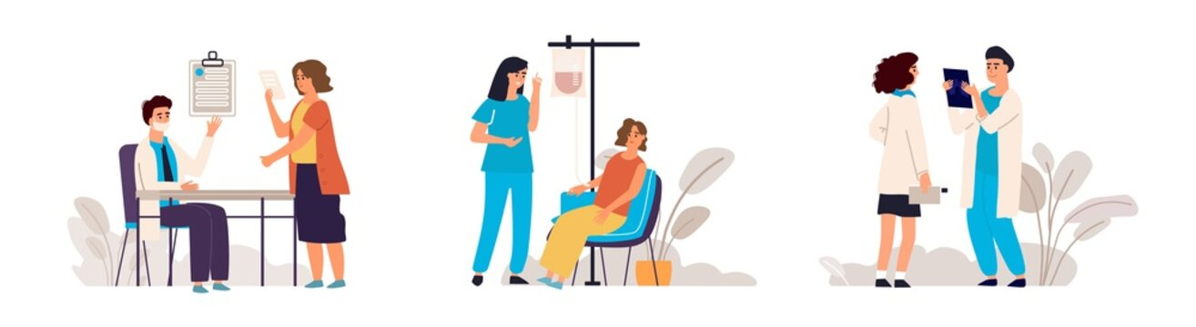 Doctor appointment. Cartoon blood donation in medical hospital scene, medical check up technology concept. Vector illustrative donor assistance template with nurse, men and woman