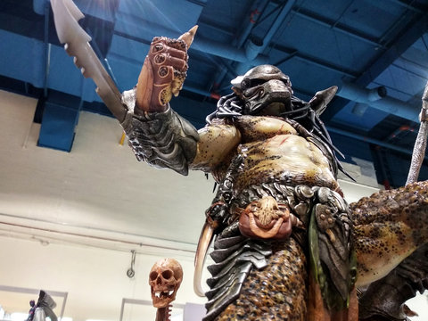 KUALA LUMPUR, MALAYSIA -MARCH 24, 2017: An alien fiction character of PREDATOR from movies and comics. The PREDATOR action figure toys displayed by the collector for the public view.