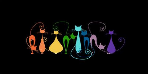 Fotobehang - Funny cats family, black silhouette