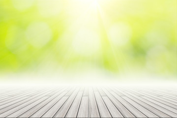 Wooden Floor Scene Background Green Bokeh With Sun Light