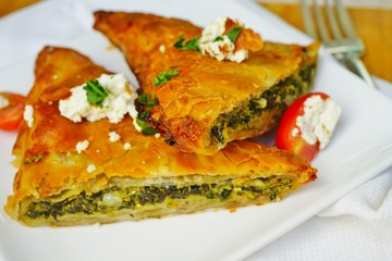 Spanakopita, a Greek spinach pie with feta cheese