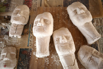 Sculptures made by Jordanian chef Omar Sartawi are seen at his workshop in Amman
