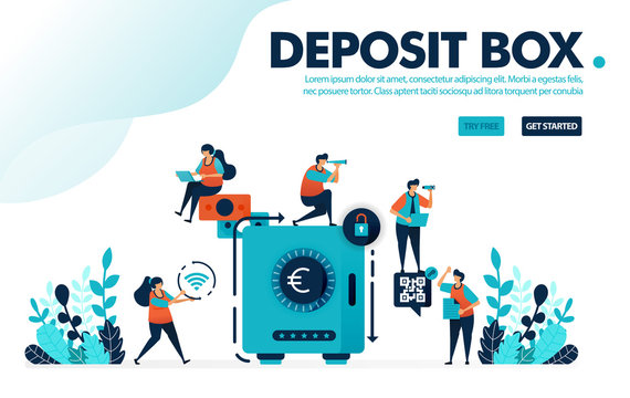 Vector illustration concept of safe deposit box. People secure and save money in banks, save and invest with banking. Designed for landing page, web, ui, banner, template, background, flyer, poster