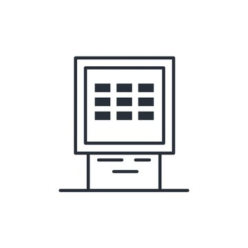 Bank terminal, self-service. Vector linear icon on a white background.