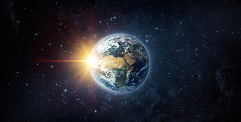 Acrylic Prints Nasa Panoramic view of the Earth, sun, star and galaxy. Sunrise over planet Earth, view from space. Elements of this image furnished by NASA.