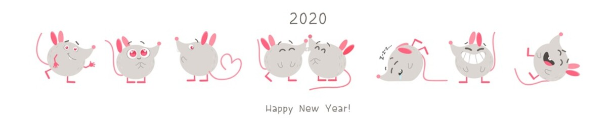 Cute rats flat vector illustrations set. Creative cartoon characters pack. Kawaii mice with different expressions. Funny 2020 year mascots