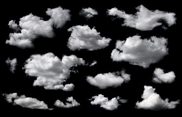 Clouds set isolated on black background. White cloudiness, mist or smog background. Wall mural