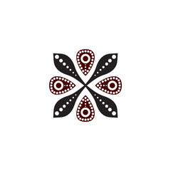 Aboriginal art dots painting icon logo design vector template
