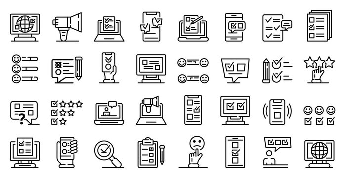 Online survey icons set. Outline set of online survey vector icons for web design isolated on white background
