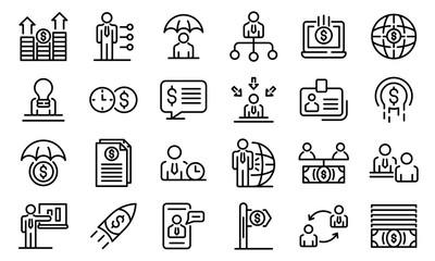Financial advisor icons set. Outline set of financial advisor vector icons for web design isolated on white background