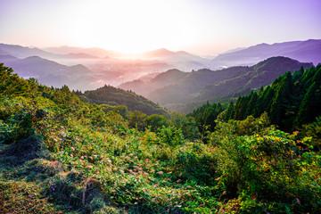 Printed kitchen splashbacks Purple sunrise in mountains, Takachiho, Miyazaki