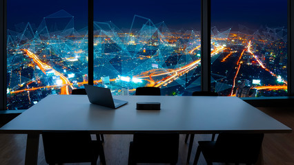 Wall Mural - Meeting room and Workplace with notebook laptop Comfortable work table in office windows and Bangkok city view with network concept.