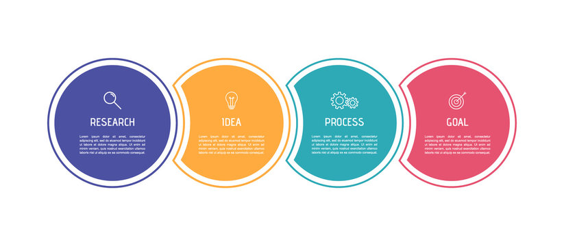 Business process infographic template. Colorful circular elements with numbers 4 options or steps. Vector illustration graphic design