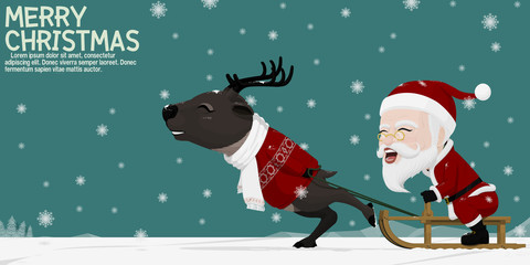 Santa Claus and his reindeer are playing sled among falling snow.