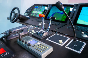 Navigation. The bridge on the ship. The place of management of the ship. Marine simulator. Instruments for controlling the vessel. Simulator for sailors. Simulation of the remote control of the ship.
