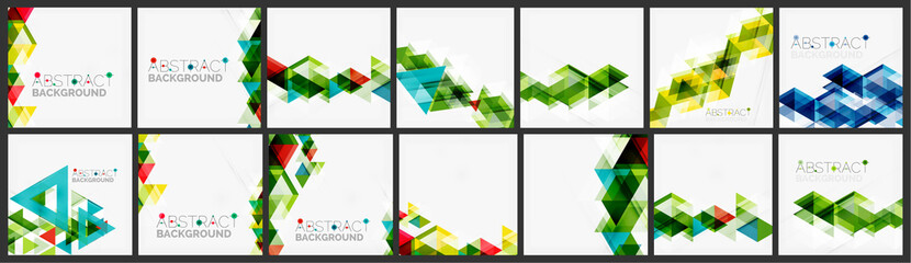 Set of triangle geometric background design templates