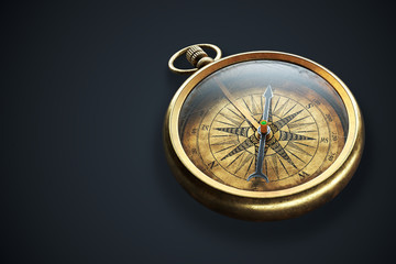 Vintage brass compass isolated on black background 3d