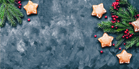 Christmas and New Year background with winter berries, ginger cookies in the form of a star and fir branches in a dark style. Free space and top view.