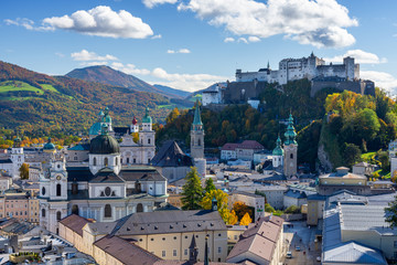 view on old town of Salzburg during autumn in Austria