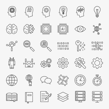 Machine Learning Line Icons Set