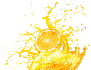 Foto op Plexiglas Sap Orange juice splashing with its fruits isolated on white background
