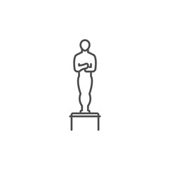 Oscar icon vector. Hollywood trophy symbol. Linear style sign for mobile concept and web design. Statue symbol illustration. Pixel vector graphics - Vector.