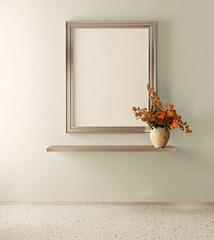 Mockup poster in the interior in modern style. Empty frame. 3d render image