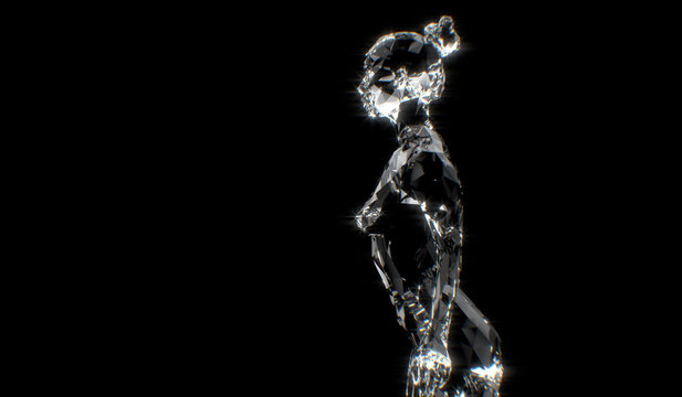 Abstract crystal based human figure concept - 3D illustration of a human body constructing from polygon diamond and crystal. Women posing in different ways.3d render.