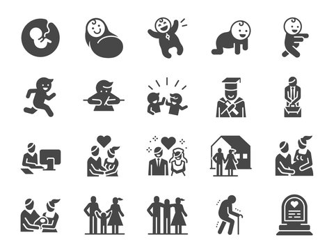 Life Cycle icon set. Included icons as birth, child, death, growing, family, happy and more.