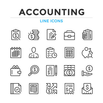 Accounting line icons set. Modern outline elements, graphic design concepts, simple symbols collection. Vector line icons