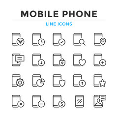 Mobile phone line icons set. Modern outline elements, graphic design concepts, simple symbols collection. Vector line icons
