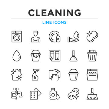 Cleaning line icons set. Modern outline elements, graphic design concepts, simple symbols collection. Vector line icons