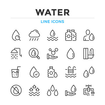 Water line icons set. Modern outline elements, graphic design concepts, simple symbols collection. Vector line icons