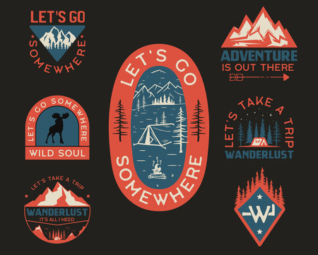 Vintage camp logos, mountain badges set. Hand drawn labels designs for t shirt. Travel expedition, wanderlust and hiking. Wild animals, outdoor emblems. Logotypes collection. Stock vector