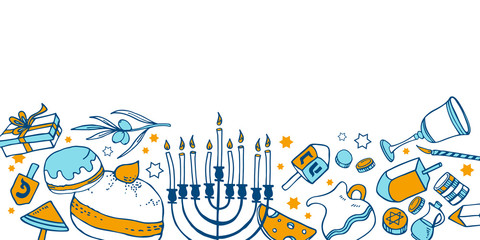 Composition with traditional Hanukkah objects on the bottom of the page. Hand drawn outline vector sketch illustration
