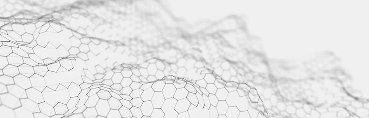 Poster Abstract wave Futuristic white hexagon background. Futuristic honeycomb concept. Wave of particles. 3D rendering.