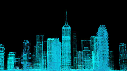 Future cyber business smart city and city power energy technology concept, neon color city architecture model, 3D presentation wallpaper background