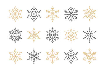 Wall Mural - Snowflake set of black isolated vector icon silhouette on white background