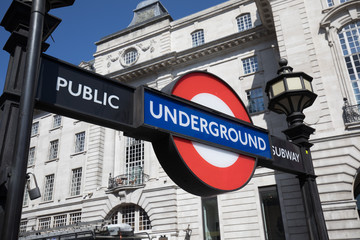 LONDON, ENGLAND - MAY 2: Detail of London Piccadilly Circus Tube sign  on May 2,2017
