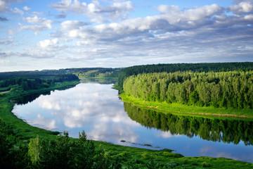 "Landscape view on the bend of Daugava river from sightseeing tower located in Vasargeliski, Naujene parish, Daugavpils district, Latgale region, Latvia, which is a part of Nature Park ""Daugavas Loki"""
