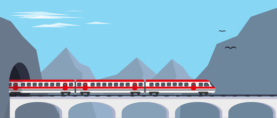 Passenger express train on bridge from tunnel in mountains. Travaling by train concept or banner vector illustration.