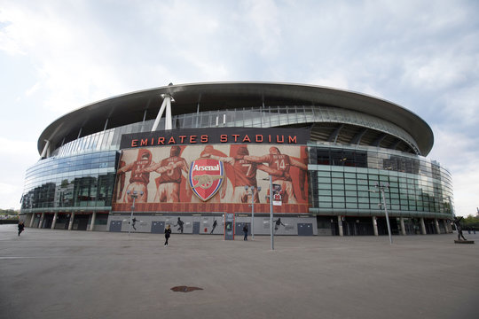 London, England - MAY 5: View of The Emirates stadium, home of Arsenal Football Club on May 5, 2017.