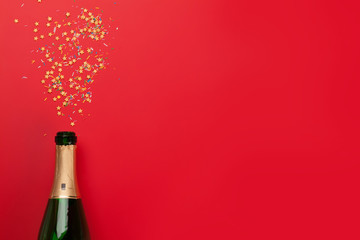 Champagne bottle holiday template