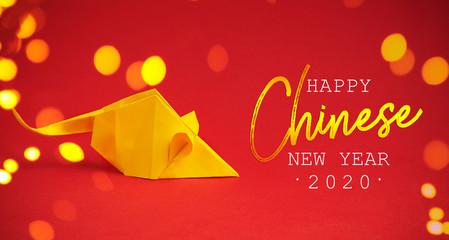 Chinese New Year 2020. Year of Rat. Chinese zodiac symbol of 2020. Origami paper animal Fototapete